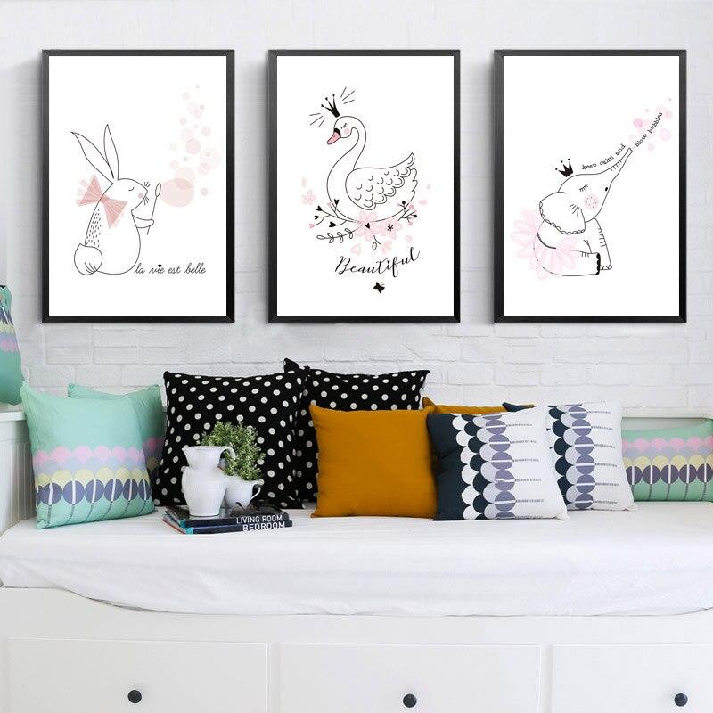 Nordic-Quarto-Dos-Mi-dos-Bonitos-Animal-Posters-E-Impress-es-Rosa-Cisne-coelho-Arte-Da (2)