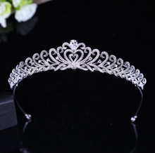 Dower me Stunning AAA Cubic Zirconia Queen Tiara Wedding Crown Bridal Hair Accessories Silver Hairband Women Headpiece(China)