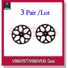 3Pair V966-014 Gear for Wltoys V966 V977 V988 V930 RC Helicopter Spare Parts(China)