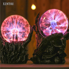 XINTOU Glass Hand Skeleton Magic Ball Creative Negative Ion Luminous Skull Head Lightning Ball Electronic Light Ornaments Gifts
