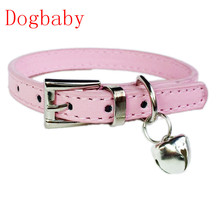 Dogbaby Pink Hot Cute Bell leather dog collar designer Small Dog Cat training Collars harnesses pet leash 2017 New Fashion
