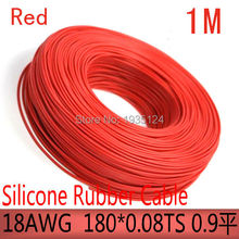 free shipment 1M 18AWG silicone rubber cable UL cable high temperature cable diy cable