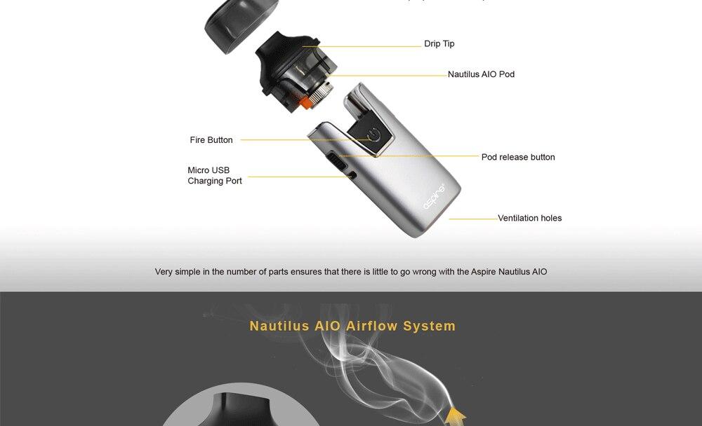In stock!! Aspire Nautilus AIO kit newest aspire pod system kit with 1000mAh battery 4.5ml capacity pod vape kit vs breeze 2 kit 4