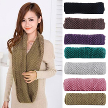 Hot Women Girl Winter Warm Infinity Wrap 2 Circle Shawl Cable Knit Cowl Neck Long Scarf 22DX