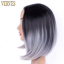 ombre synthetic wigs silver grey wigs 10 inch VERVRES female short haircut wigs cosplay high temperature fiber(China)