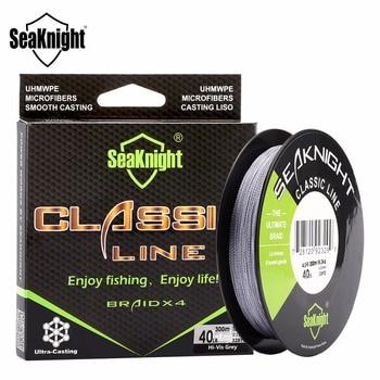 Seaknight clássico 300 m 4 vertentes pe multifilament trançado de linha de pesca super forte trança corda 6-80lb 4 tece pesca em água salgada