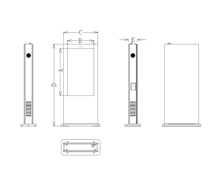 free standing outdoor digital signage drawing(portrait)