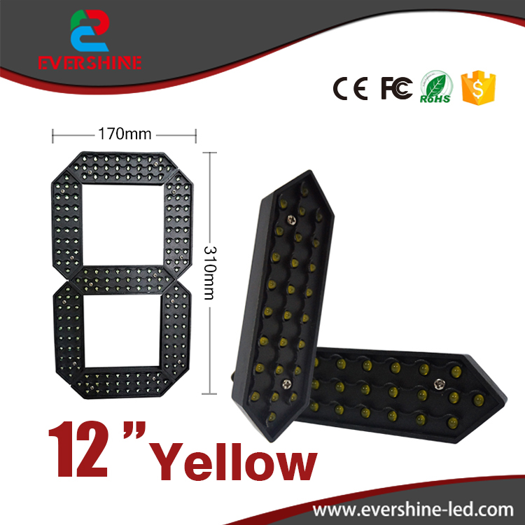 12 Yellow Color Digita 7segment Numbers Module Outdoor Ultra Brightness Yellow Large digital led module display<br>