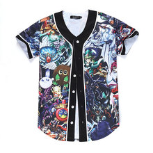 2016 High quality Hiphop Shirt With Cartoon Anime T-Shirt Short Sleeves V Neck Single Buttons Casual T Shirt Plue Size M-XXXL