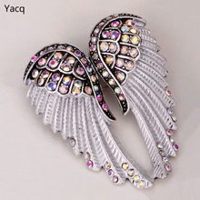 YACQ Angel Wings Brooch Pin Pendant Women Biker Jewelry Gifts for Mom Her Wife Girlfriend W Crystal Wholesale Dropshipping BD03(China)
