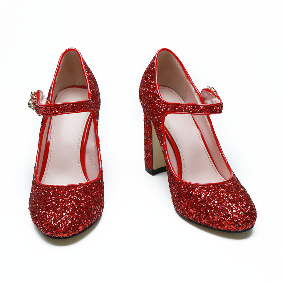Fashion-sequined-cloth-women-pumps-genuine-leather-classic-round-toe-one-belt-strap-chunky-high-heels (5)