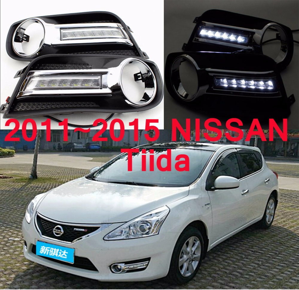 Car-styling,Tiida daytime light,2012~2015,chrome,car-detector,LED,Free ship!2pcs,Tiida fog light;car-covers, Tiida headlight<br>