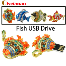 Crystal Jewelry Goldfish USB Flash Drive 4gb 8gb 16gb USB Memory Flash Colorful clownfish Necklace pendrives Free shipping