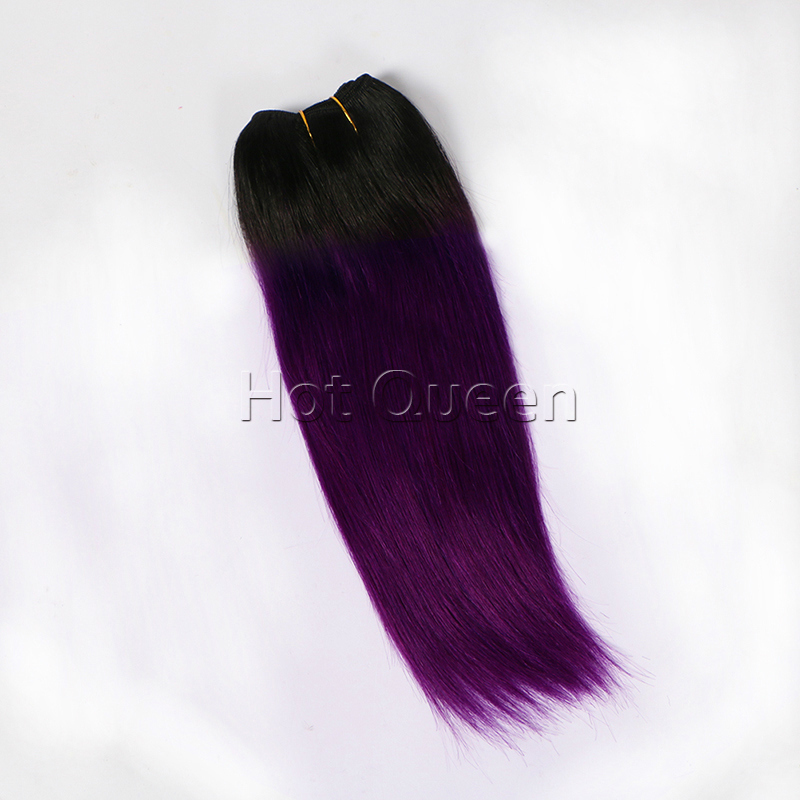 New Arrivals 6A Grade Brazilian Straight Ombre Remy Hair Bundles#1B/Purple Color (100g) 100% Human Hair Weaves In Stock<br><br>Aliexpress