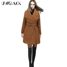 Uwback Winter Wool Blends Coat Women Belt Army Green Thick Outwear Coats Mujer Long Sleeve Plus Size Trench Women TB1241