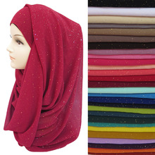 Gold Glitters Shimmer Bubble Chiffon Muslim Hijab Scarf Shawl Head Wrap Plain Colours(China)