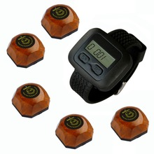 Wireless waiter paging System for hospital,welfare house and so on, 5 wooden buttons and one watch