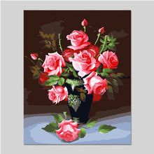 DIY digital painting by numbers vase of roses hand painted coloring paint decorative painting
