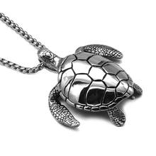 Men Stainless Steel Turtle Necklaces Pendants Sea Ocean Animal Jewelry Punk Rock Personalized Hip Hop Necklace For Men