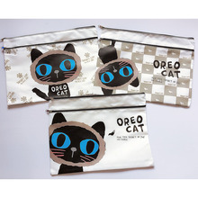 J42 Cute Kawaii Oreo Cat A4 Double Zipper Canvas Document Bag Business Briefcase Storage Papers File Folder Student  Stationery