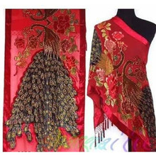 Free Shipping Red Ladies' Velvet Silk Beaded Embroidery Shawl Scarf Wrap Scarves Peafowl WS006-W