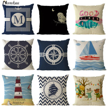 new Sea Solider Blue Helm CushionCovers Anchor Boat ocean Marine Linen Throw PillowsCases 45x45cm Home Decorative Pillowcase