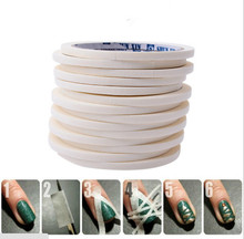 2 PC 0.5cm*17m Manicure 3D Nail Art Tips Creative Nails Stripe Tape Rolls White Tape Stickers For Masking Pattern
