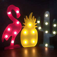 Decorative Flamingo Lamp Pineapple Table Lamp Cactus NightLight Marquee LED Night light Home Christmas Party Decor P25