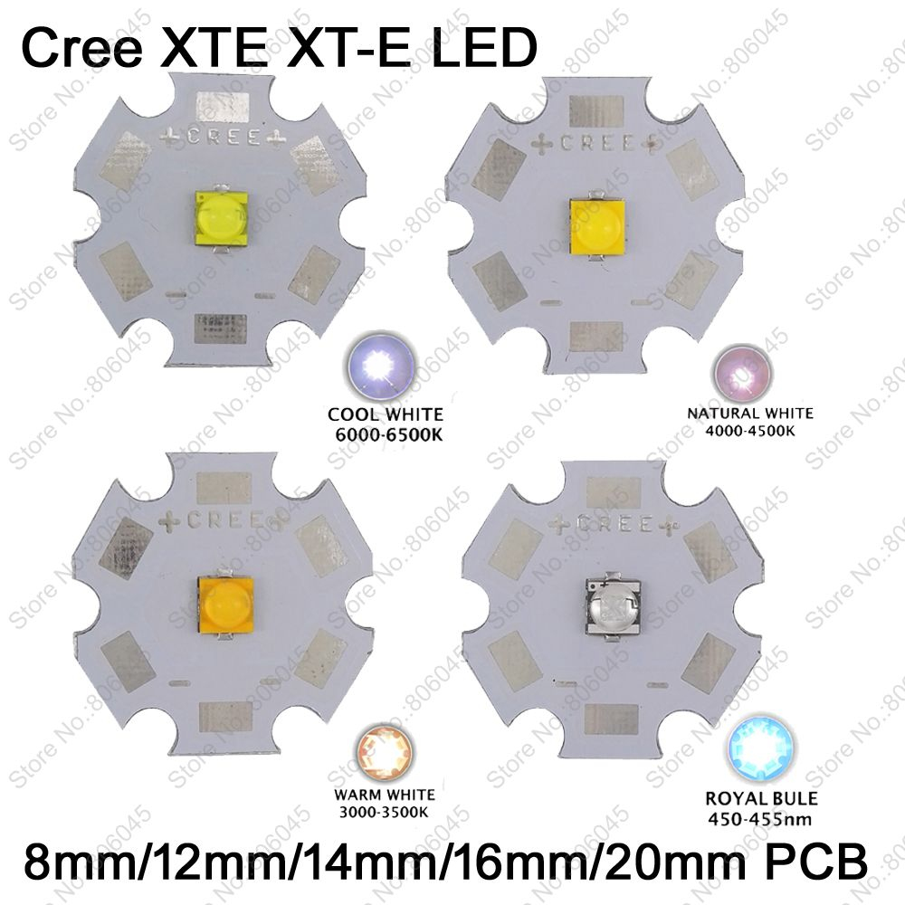 10x 5W Cree XTE XT-E High Power LED Emitter Diode,Cool White/Warm White/Neutral White/ Royal Blue on 8mm/12mm/14mm/16mm/20mm PCB<br><br>Aliexpress