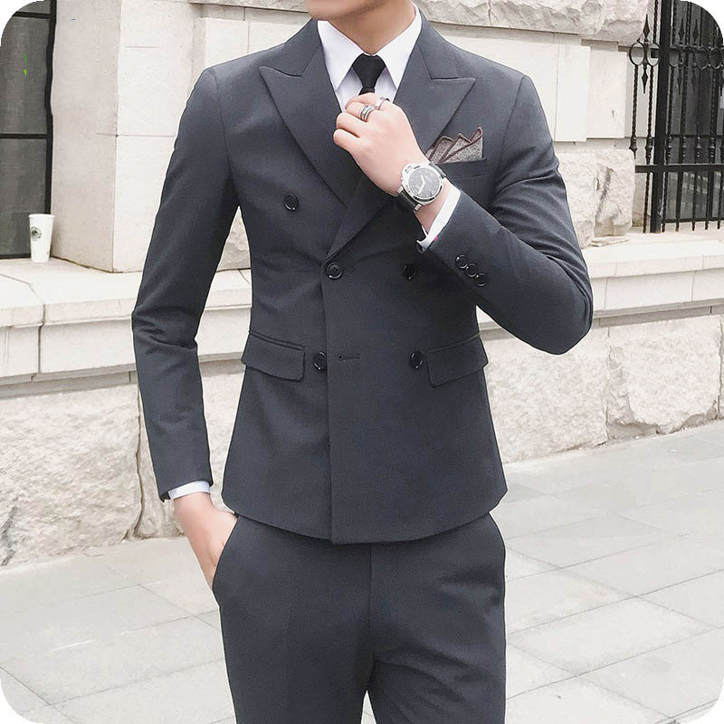 Custom Made Grey Men Wedding Suits Pants Peak Lapel Costume Homme Groom Tuxedo Ivory Man Blazer Slim Fit Terno Masculino 2Piece