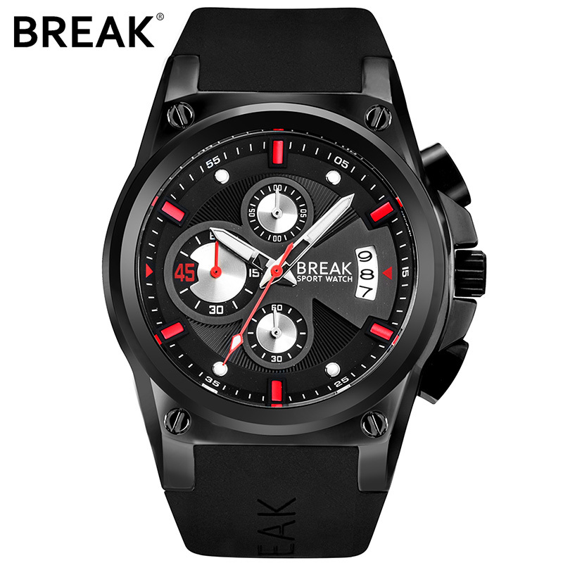 BREAK Luxury Brand Men Sport Watch Waterproof Military Quartz Boy Watches Waterproof Male Casual Black Clock Relogio Masculino<br>