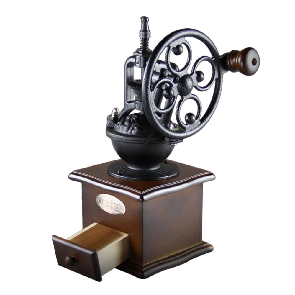 Wheel Design Vintage Manual Coffee Grinder With Ceramic Movement Retro Wooden Mill Hand Coffee Maker Machine For Home Decoration<br>