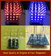 Free Shipping New Colorful 4*4*4 3D LED LightSquared White LED Blue&Red Ray LED Cube DIY Kit