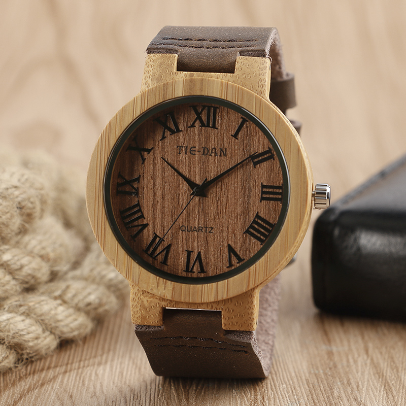 2017 Nature Wooden Wrist Watch Roman Numbers Brown Genuine Leather Band Strap Hot Men Bamboo Watches For Gift<br><br>Aliexpress