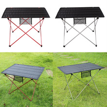 Foldable Folding Table Picnic Camping Desk Aluminium Oxford Red/Silver