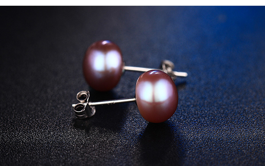 100% genuine freshwater pink pearl earrings fashion jewelry silver stud earrings for women super deal with gift box 2018 new