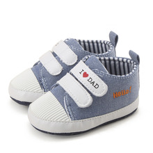 Baby Boy Casual Shoes I Love Dad Pattern First Walkers Canvas Shoes Comfortable Infant Footwear for Toddler 0-18 Months(China)