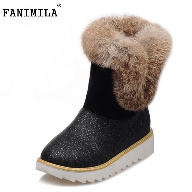 FANIMILA Size 32-43 Women Half Short Snow Boots Flats Boots Thick Fur Shoes For Cold Winter Boots Warm Botas Women Footwears<br>