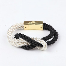 Buy 2017 Hot Fashion Bracelets Braided Rope Chain Magnetic Clasp Bow Charm Leather Men Women Jewelry Bangles for $1.07 in AliExpress store