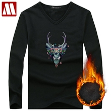 2018 Autumn Winter Fleece lined T shirt Fashion Deer Printed Men Velvet Undershirts Thermal Homme Casual Cotton Men's Long Johns(China)