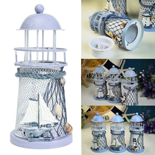 Fashion Lighthouse Iron Model Candle Holder Nautical Beach Ship Boat Design Candles Holder Home Garden Decors