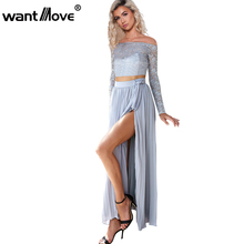 Wantmove S-XL chiffon lace long sleeve dress blue women two pieces side split party maxi dress robe vestidos JZ007(China)