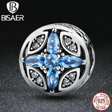 BISAER Classic 925 Sterling Silver Shopping Blue Round Beads Charms Fit Pandora Women Bracelets & Bangles Fashion Jewelry HJS398(China)
