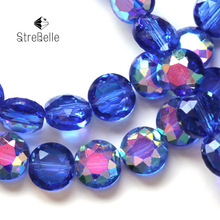 Fashion 10mm beads Button Shape Beads Flower Cutting Crystal Glass faceted Beads AB COLOR for Bracelet jewelry making DIY(China)
