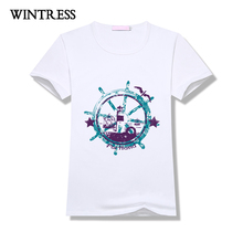 WINTRESS Hot Sale Hipster Print Tee Fashion Rudder Pattern Design Short Sleeve Round Neck Broadcloth Women T-Shirt(China)