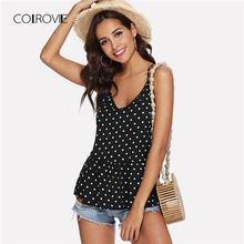Buy COLROVIE Black White V Neck Camisole Polka Dot Ruffle Cami 2018 Summer Vacation Strap Tops Female Sexy Women Clothing for $7.99 in AliExpress store