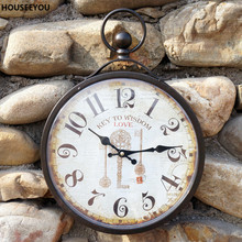 Europe Wrought Iron Wall Clocks Antique Retro Vintage Digital Clocks Watch Dining Living Room Bedroom Home Decor Horloge Murale