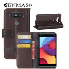 flip case For LG Q8 case capa Soft TPU back cover Genuine leather flip wallet cases for LG V20 mini phone brown black capa funda(China)