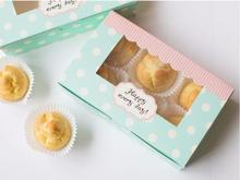 "Custom logo Food grade paper box ""Happy every day"" Biscuit  Window Paper cake box cardboard boxes for cakes paper box"