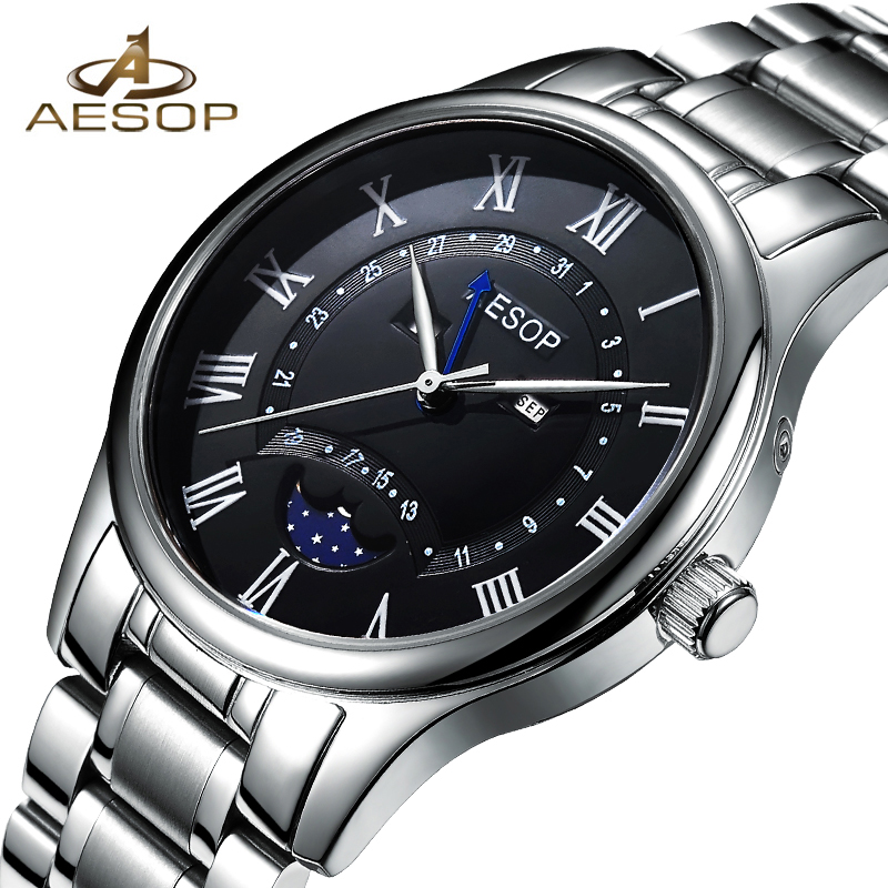 AESOP Watch Men Famous Brand Quartz Wristwatch Moon Phase Male Clock Waterproof Stainless Steel Relogio Masculino Hodinky Box 27<br>